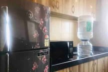 Fully equipped kitchen with double door Fridge, Microwave, Toaster, Gas stove etc