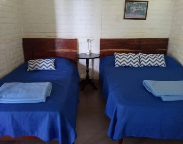Bedroom 3: a double and a single, shared bathroom with bedroom 2