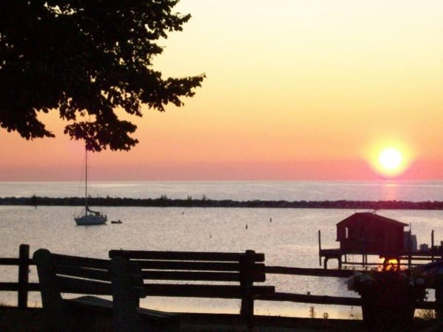 Harrisville Harbor, right across the street