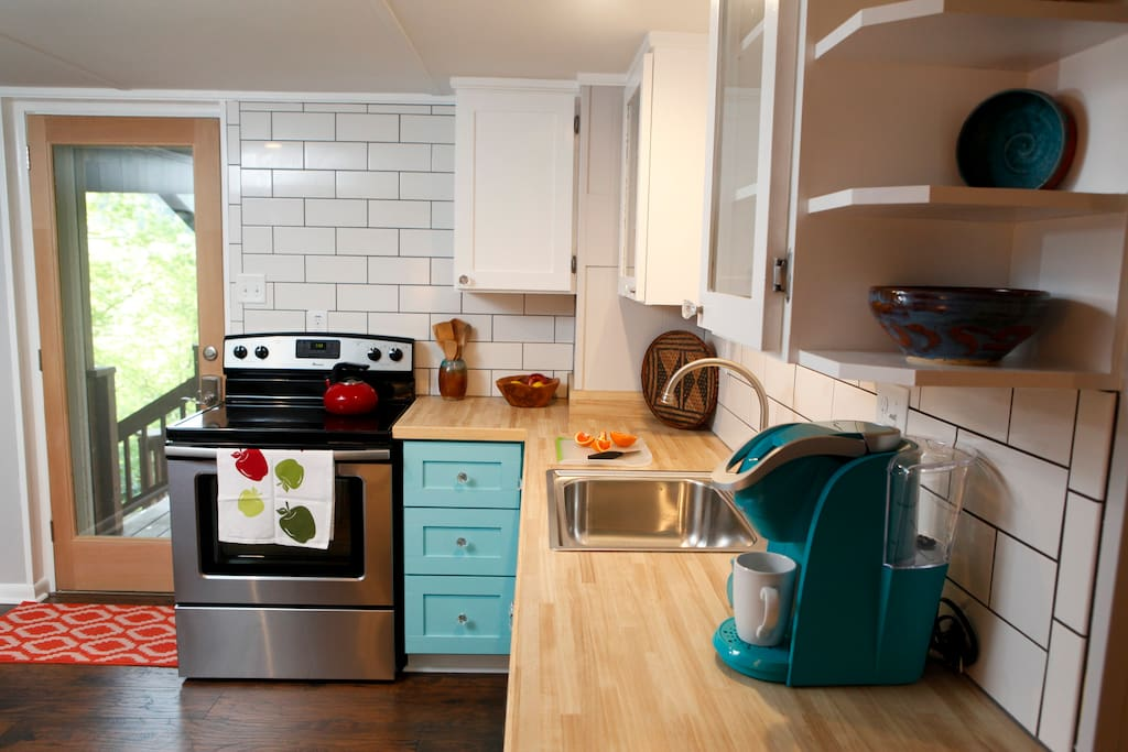 Enter from your private deck to a full kitchen. Enjoy a morning Keurig.