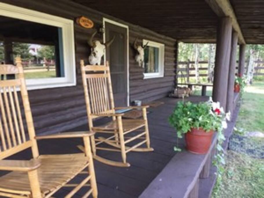 The porch of the Russell Cabin. Relax and enjoy the views.