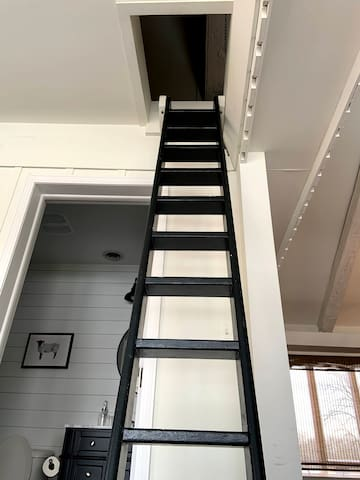 Ladder to upstairs twin loft (additional view)