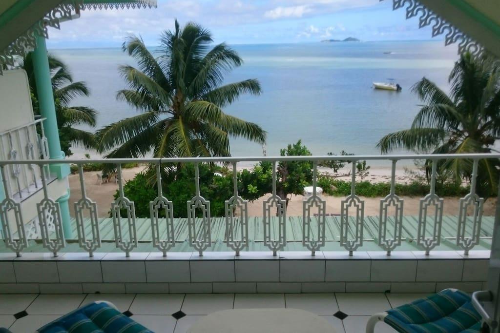 Beautiful ocean views from open balcony.