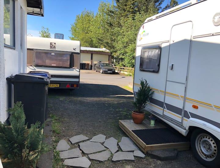 Retro fun Caravan - bus stop and parking!