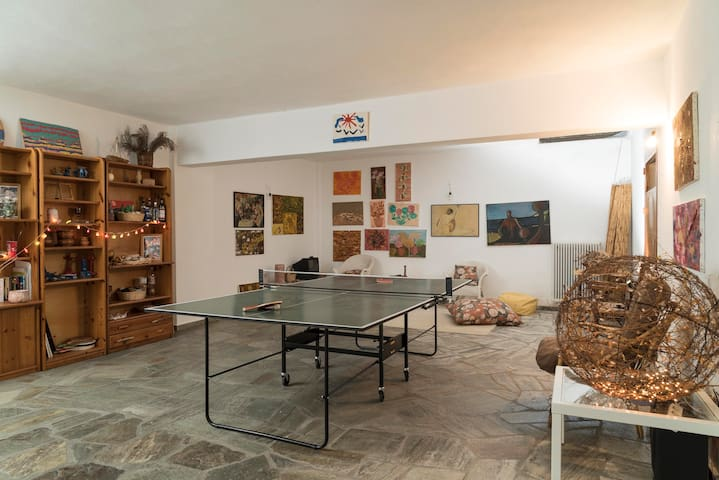 playroom in the basement