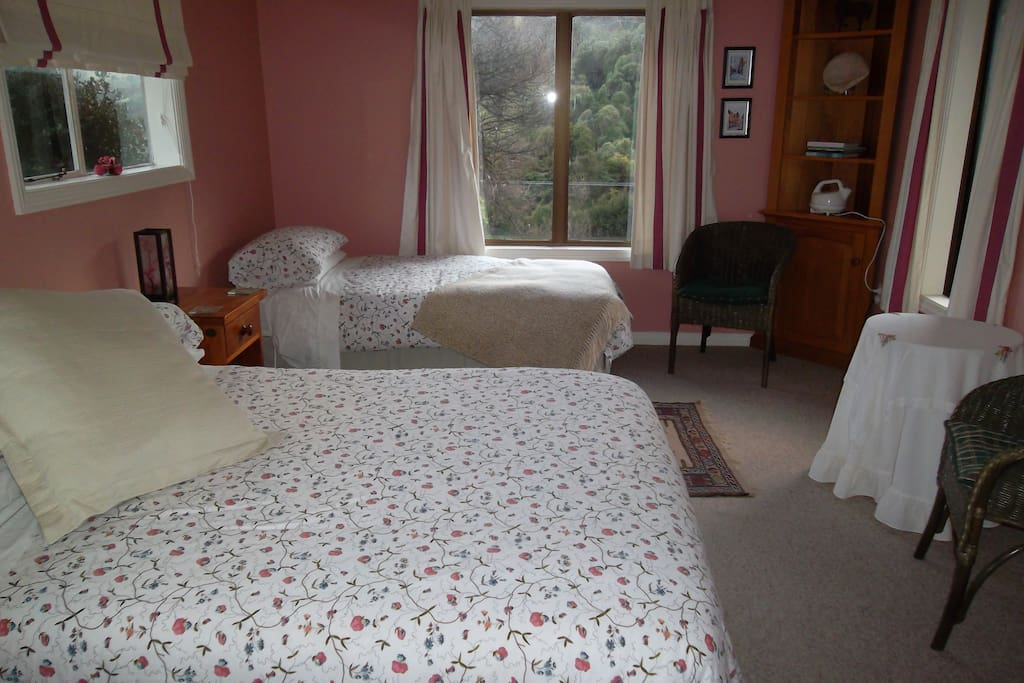 The Pink Room. One double and one single bed, private bathroom, coffee and tea making facilities and private entrance.