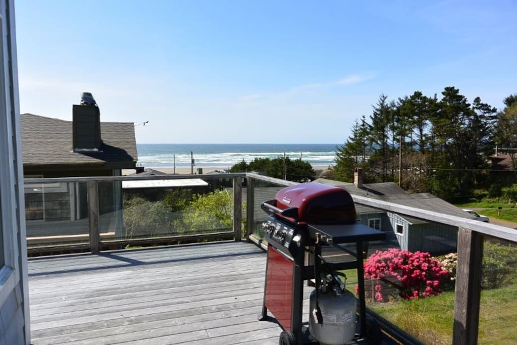 Ocean view from deck, living room, dining room and kitchen