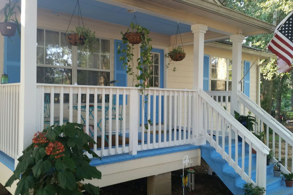 Newly painted front porch.
