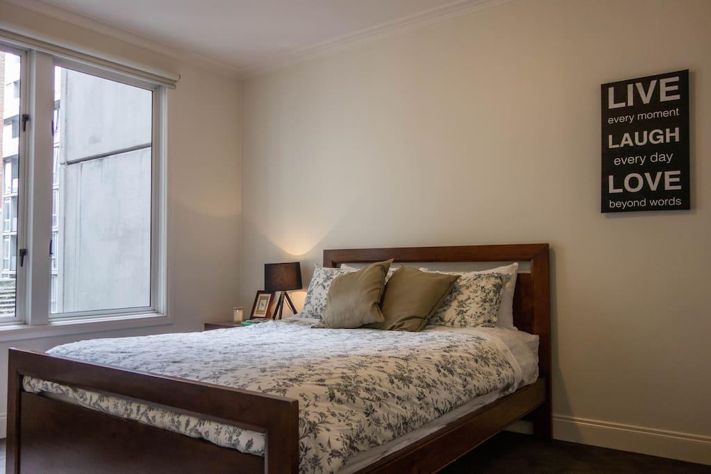 Bedroom #1: super comfy queen size bed.