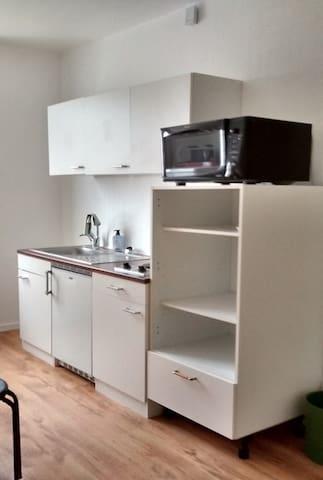 Communs - Préparation repas : taques électriques, frigo sous évier avec freezer. Il y a aussi un grand frigo-congélateur près de la fenêtre.