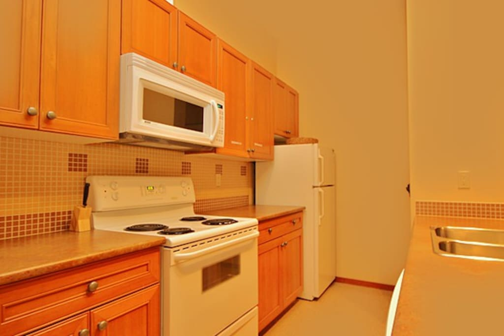 A well-equipped and spacious kitchen
