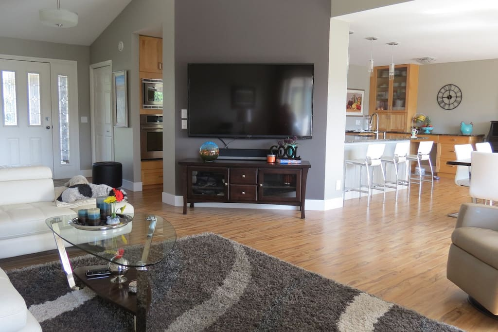 """Open concept and 70"""" TV"""