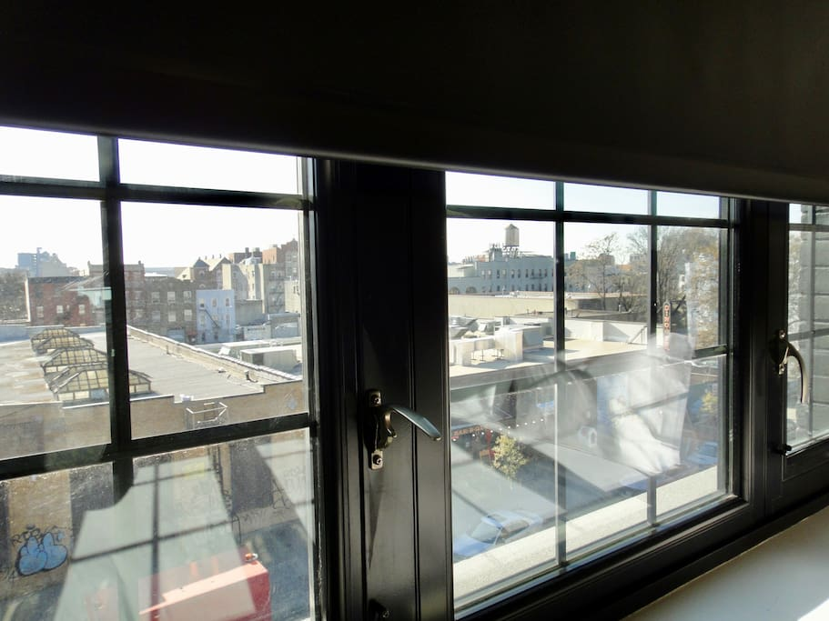 Factory Windows With Various Views At Brooklyn And The City