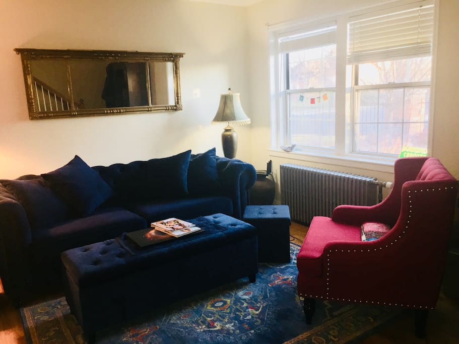 Comfortable living room with option of smart TV. Couch is very roomy and comfortable and can be used for additional bed. Extra bedding including pillows provided.