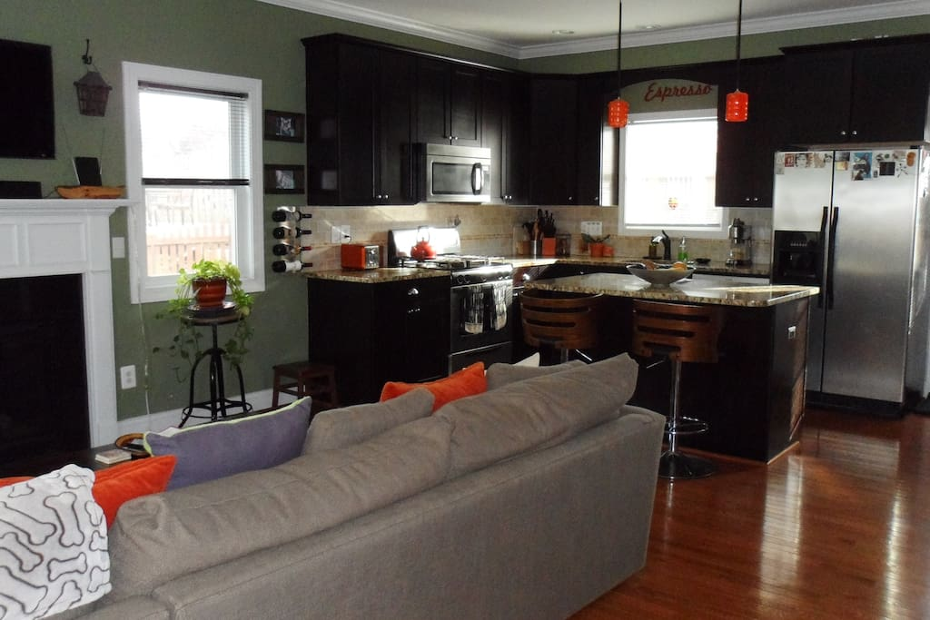 Very comfortable living room and kitchen combo