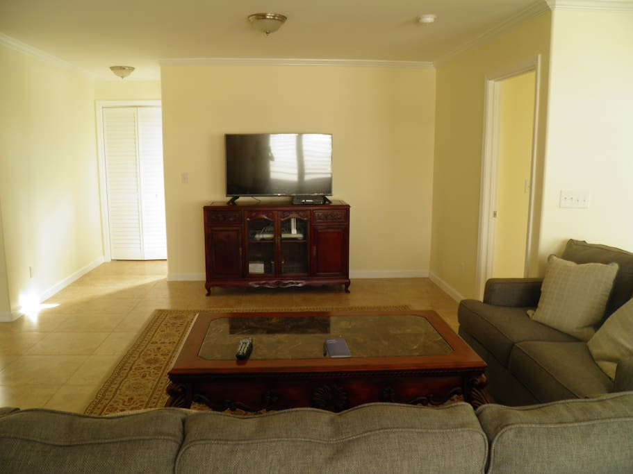 Living room with cable TV and Nintendo Wii