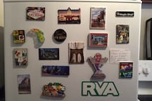 Some magnets from hometowns of people who have stayed here.
