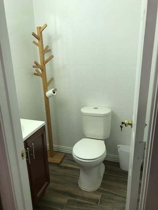 Private bathroom - no shower. Showers are taken in main house. We can plan when you would like access to shower. Easy to do.