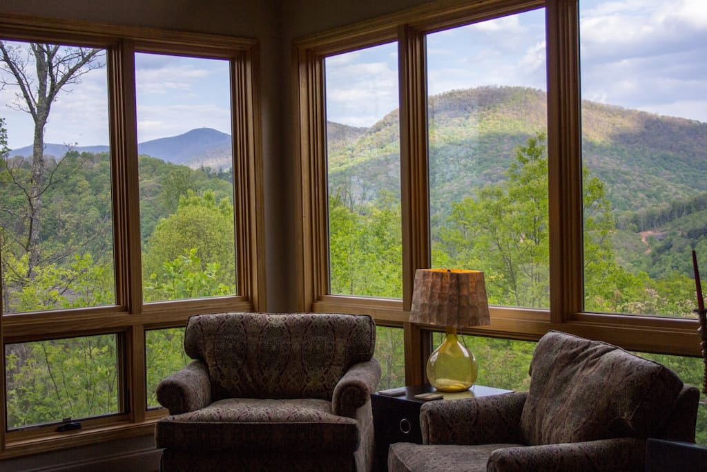Spring view of Chattahoochee National Forest and Brasstown Bald Tower from the Living Room