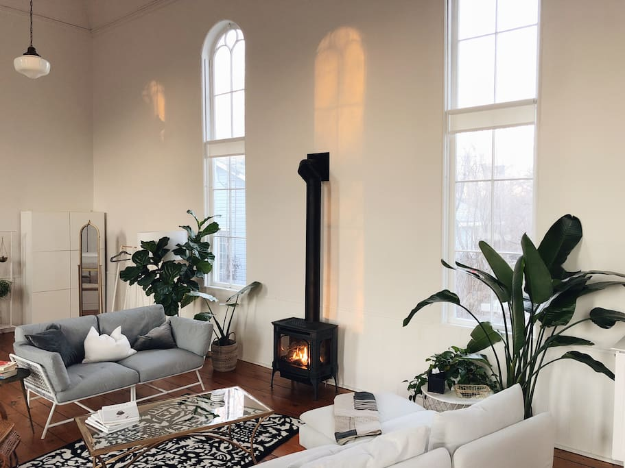 We recently added a gorgeous gas fireplace for long winter days and nights. The morning light through the window aint too shabby, either :)
