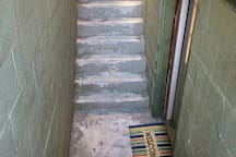 Stairwell entrance to the suite. 12 stairs total.