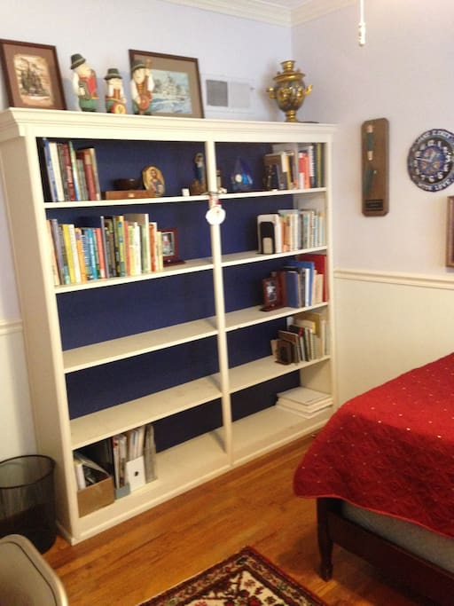 The bookcase in the room.