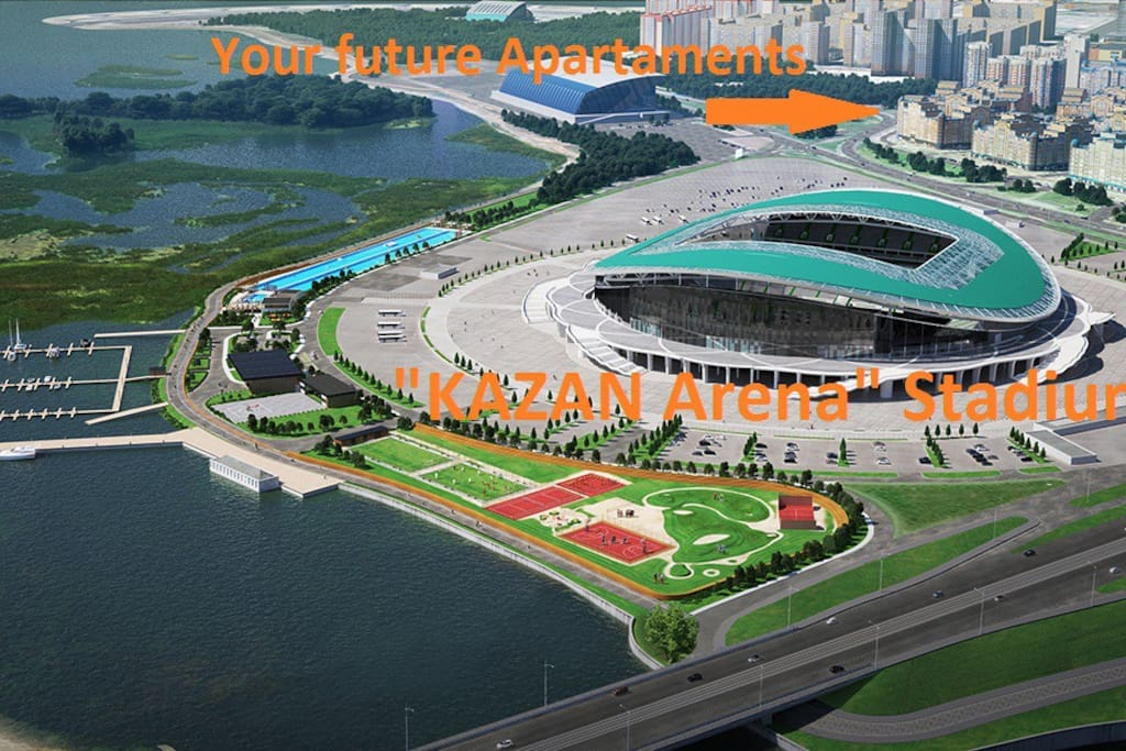 Panoramic view on the Apartaments and Stadium