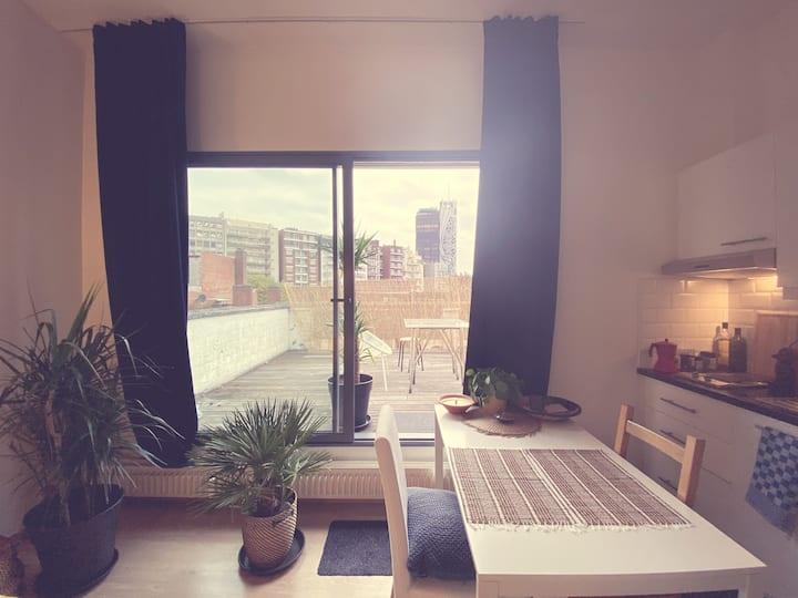 Endless summer studio with terrace in Ixelles