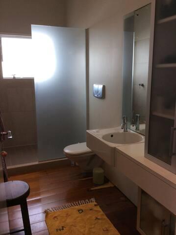 Spacious bathroom, huge shower