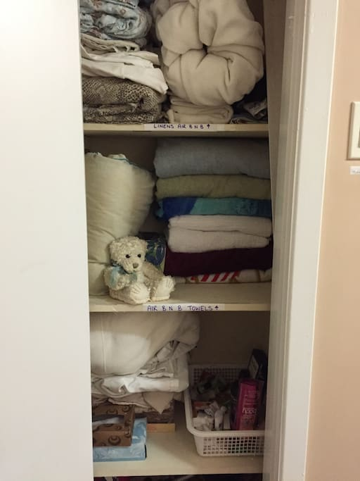 Extra linens ... Towels ... Bath stuff if you forget shampoo or soap...