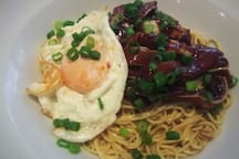 Boil noodle with lamb and egg dinner for our valuable guest