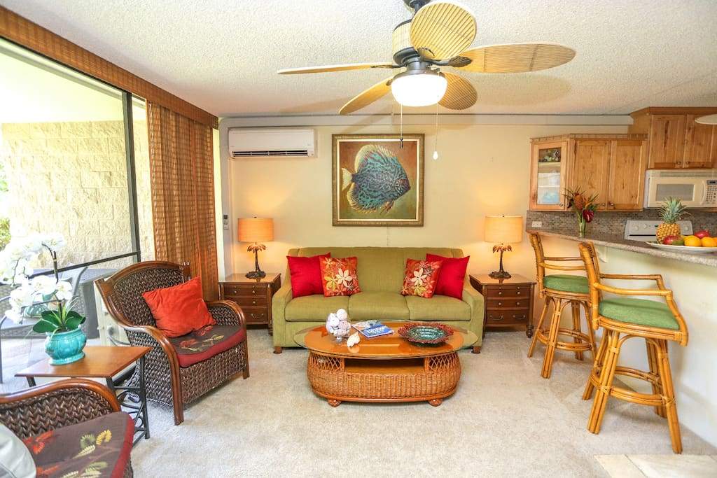 Ample seating for entertaining in  living area