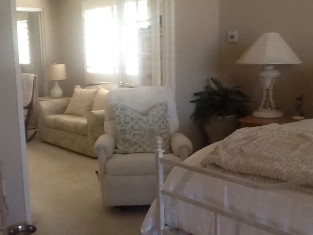 master suite and sitting area with sofa bed