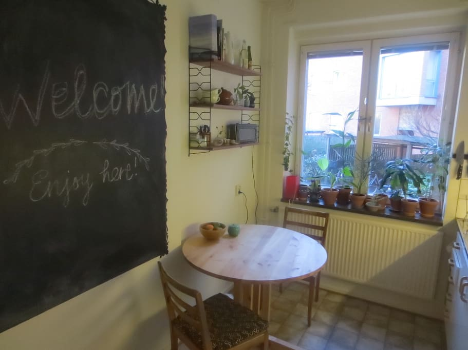 The kitchen with it's blackboard which  you are free to go crazy with.