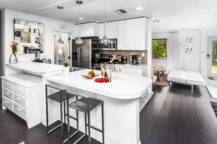 Kitchen fully equipped with modern appliances