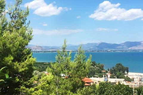 Sea view maisonette near Nafplio!1' drive to beach
