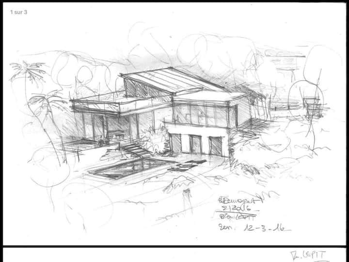 Maison d'architecte neuve sur grand terrain arboré