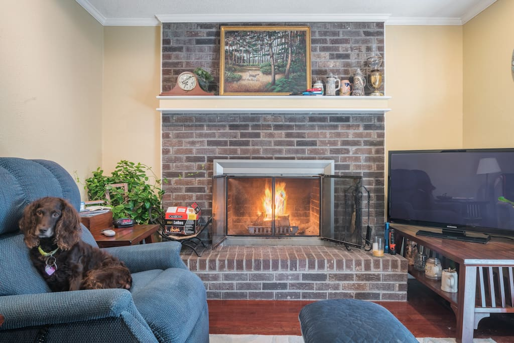 Cool mornings inspire a fire in your den off from the screened porch and marsh