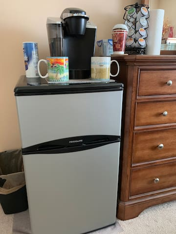 Mini Fridge with freeze, stocked with water