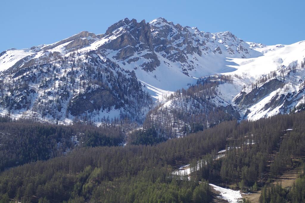 Balcony view skiing area