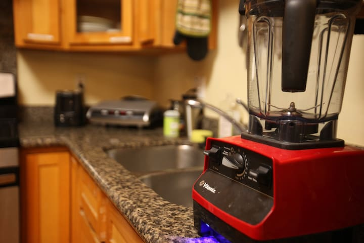 Our vitamix is joined by an army of other kitchen appliances including a Gas Stove, an Oven, an InstantPot, a Foreman Grill, Microwave, Toaster Oven, Dishwasher, etc.