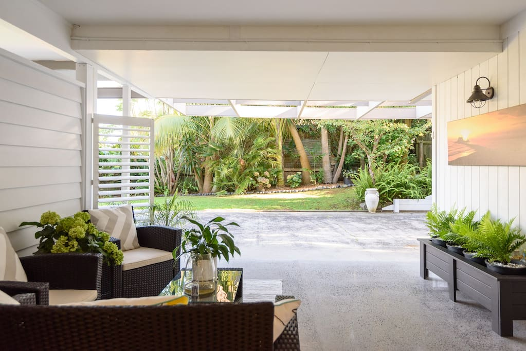 Private under covered seating area