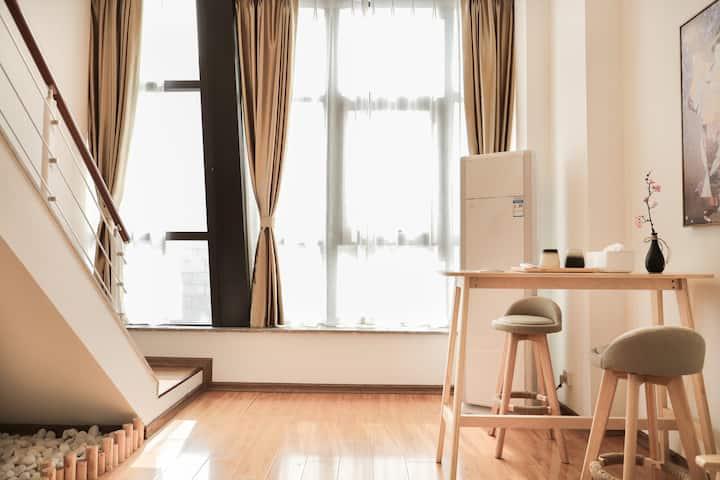 城宿·【浮世绘】宝龙广场复式loft公寓/近万达广场/关东街 个园 瘦西湖/日式雅致小屋