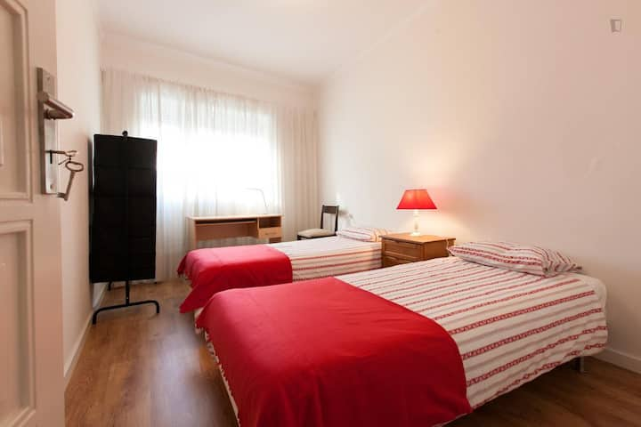 Bright Room with Two Single Beds