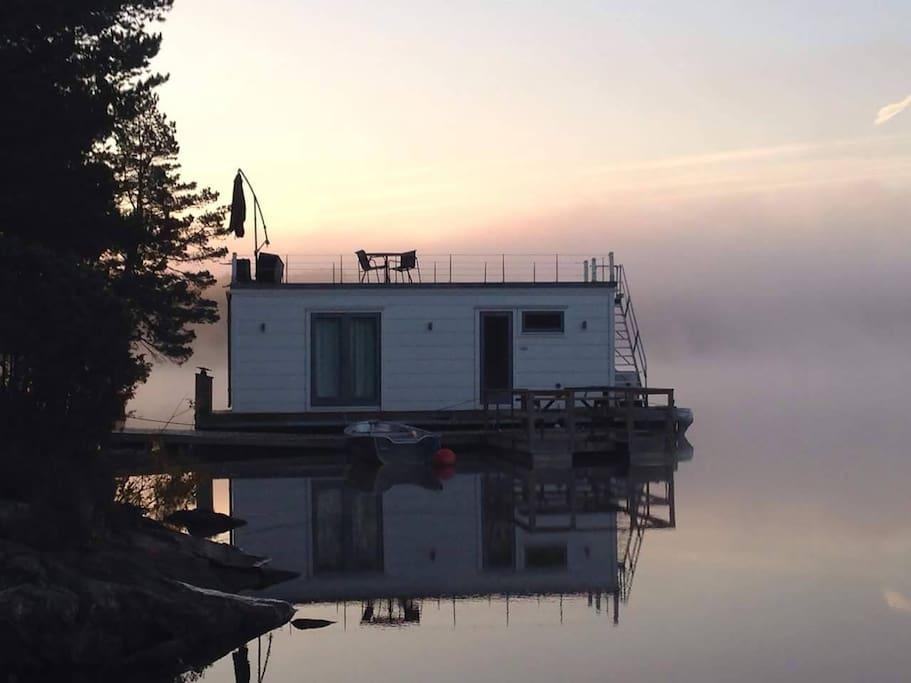 Boat house at dusk.