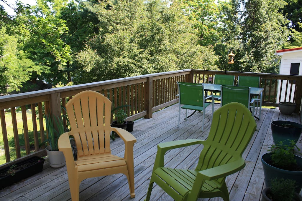 Back deck with chairs and table