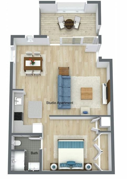 Open floor plan (620 sq feet)