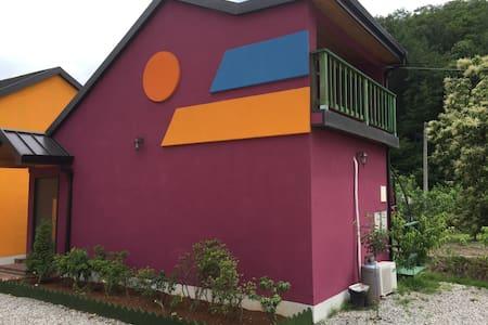 대명비발디 근처의 스파가 있는 독채-퍼풀동 - Casa