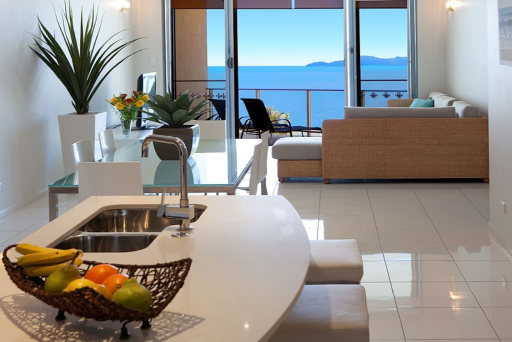 Open plan living with oceanviews