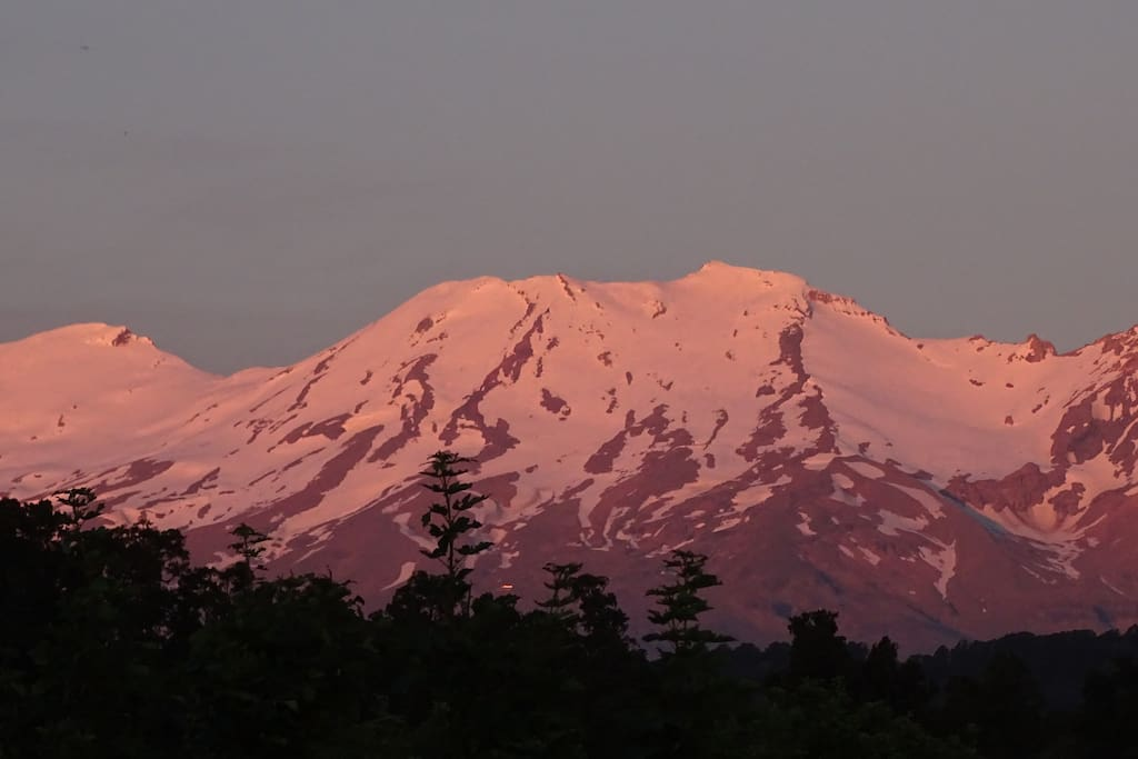 View from upstairs deck -  Sunset on Ruapehu